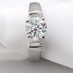 Modern Platinum Solitaire Ring