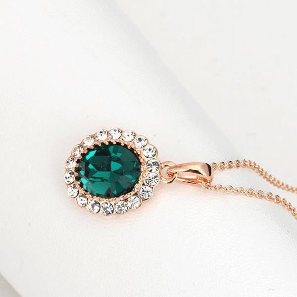 Rose Gold Emerald Halo Necklace