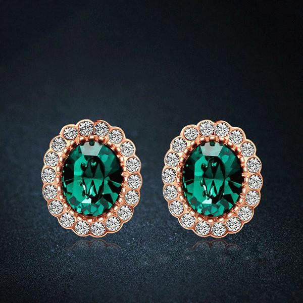 Rose Gold Emerald Earrings