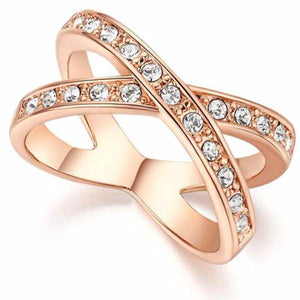 Rose Gold Cross Over Ring