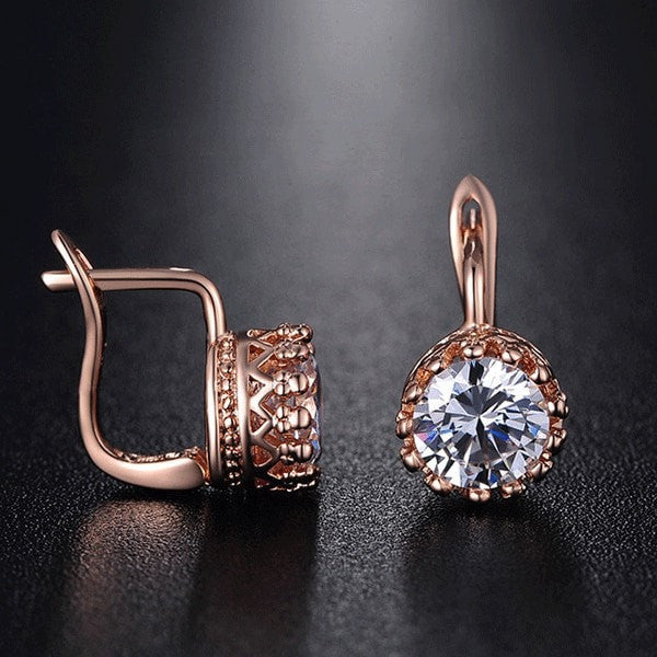 Rose Gold Crown Earrings