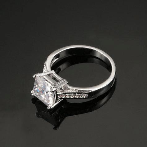 Square Cut Pave Ring