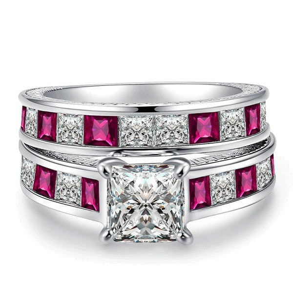 Princess Square Cut Ring Set