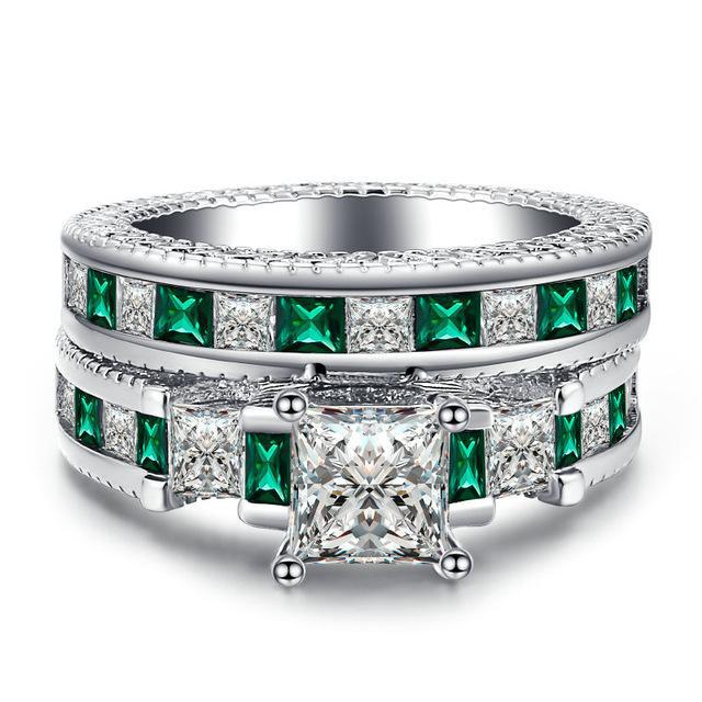 Emerald Square Cut Ring Set