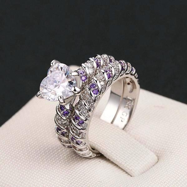 Purple Twisting Heart Ring Set