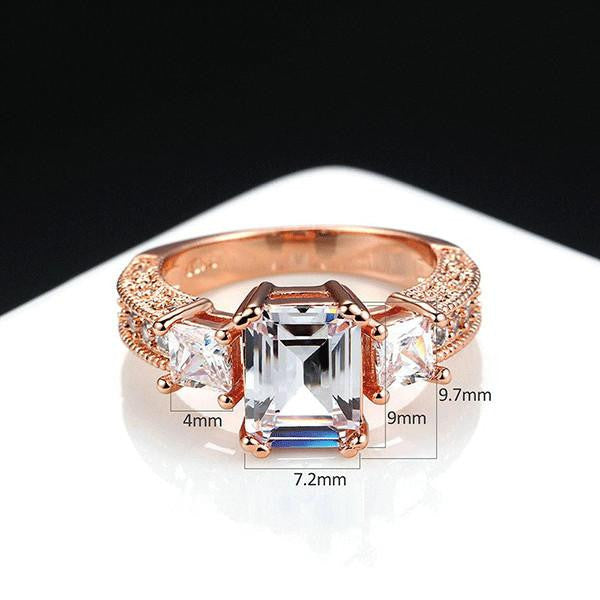 Triple Stone Rose Gold Ring