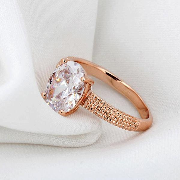 Rose Gold Textured Oval Ring