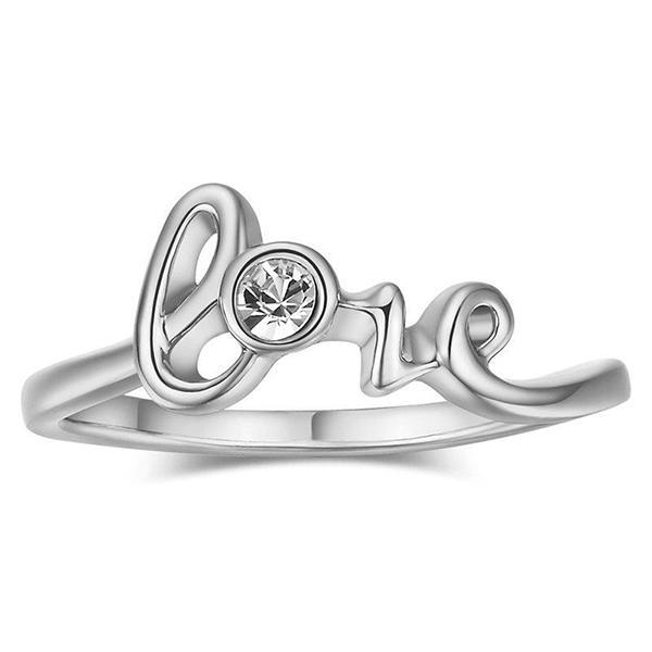 White Gold Love Ring