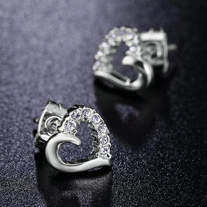 Platinum Heart Stud Earrings