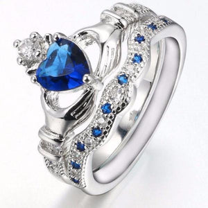 Claddagh Sapphire Ring Set