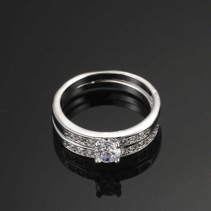 Double Stack Silver Platinum Ring