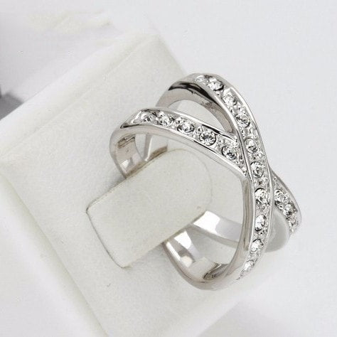 Silver Jewel Cross Over Ring