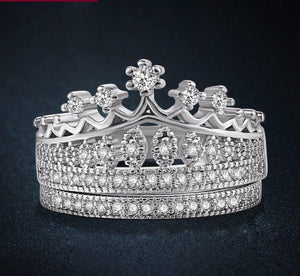 Platinum Crown Ring Set