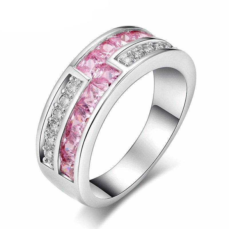 Luxury Pink Platinum Ring