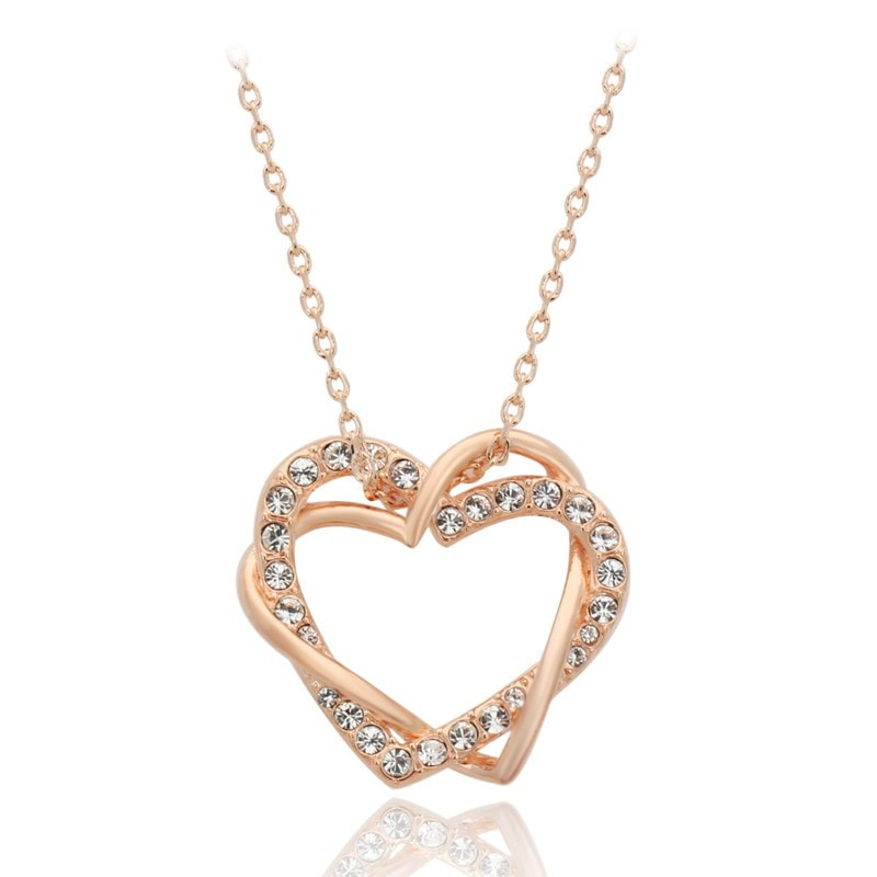 Double Rose Gold Heart Necklace