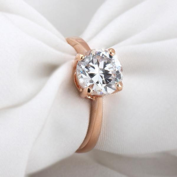 Four Claw Rose Gold Diamond Ring