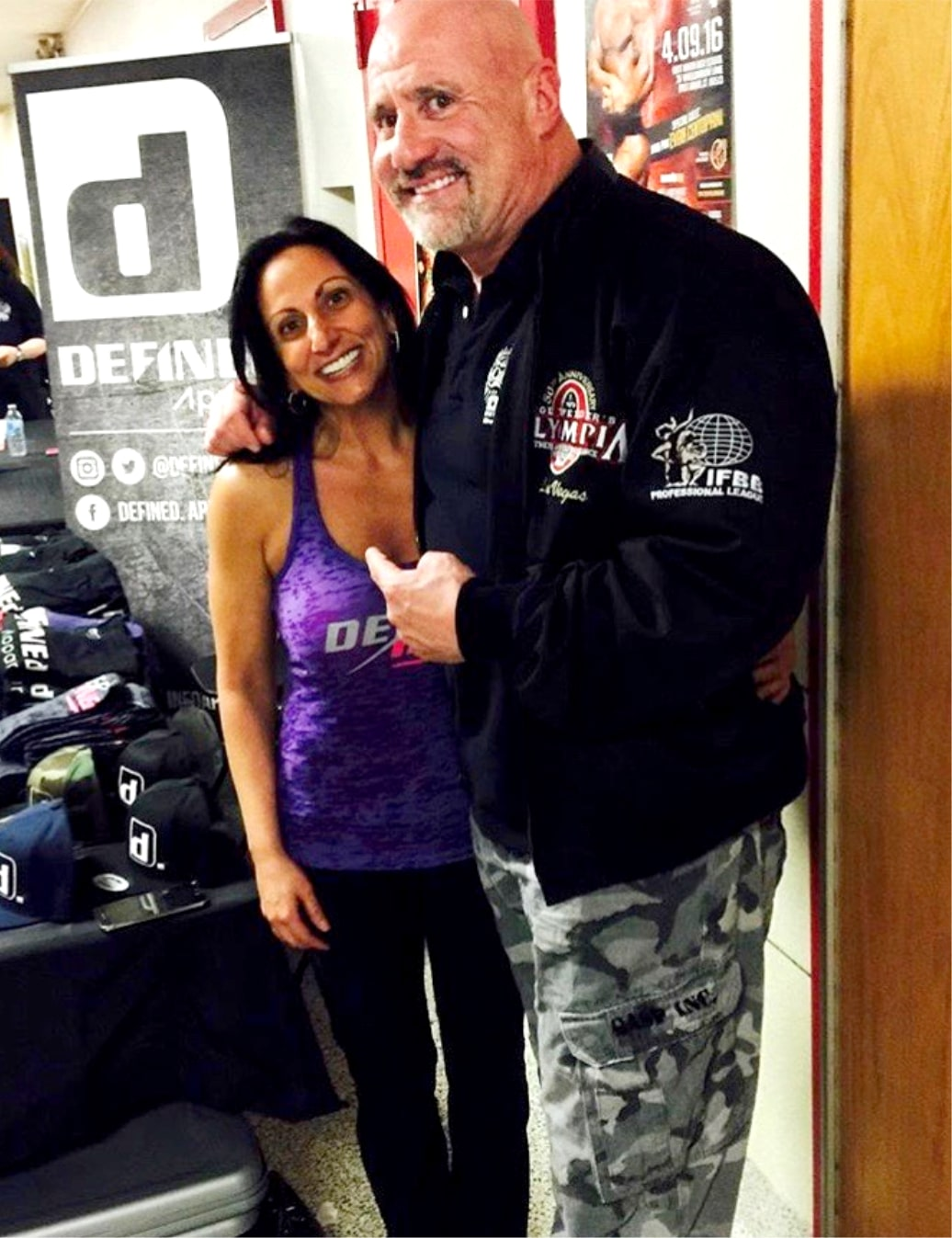 """Head IFBB pro judge and """"East Cost Mecca"""" Bev Frances Powerhouse Gym owner Steve Weinberger"""