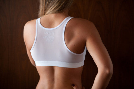 White Mesh Racer Sports Bra