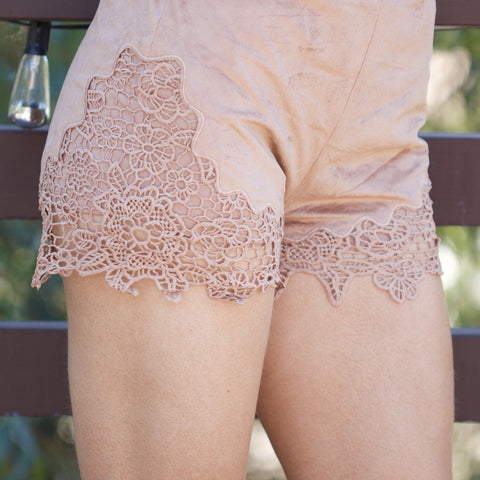 Suede Lace Shorts