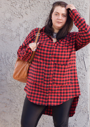 Plus Size Plaid Hi-Lo Button Up Top