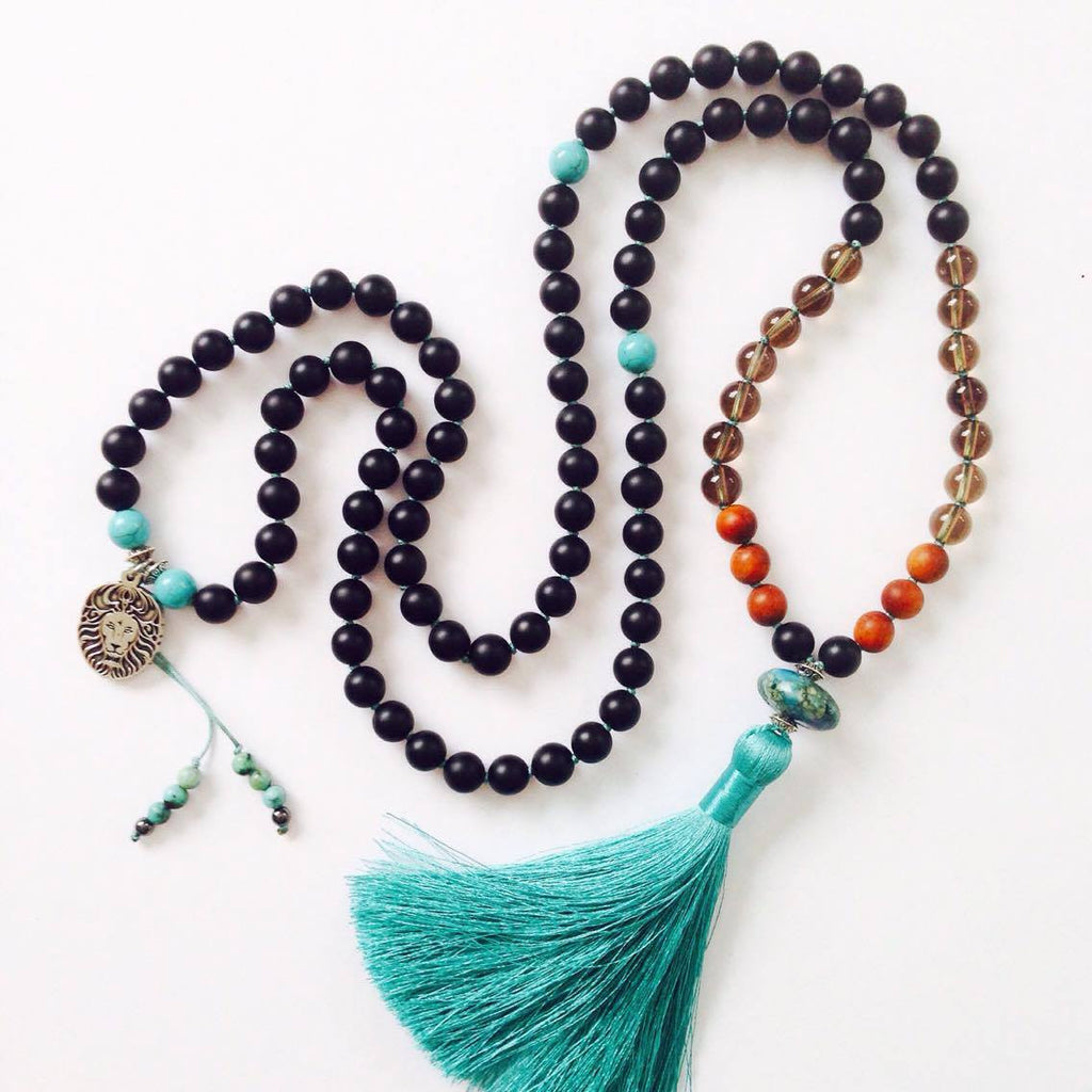 mika mala beads self mastery handknotted with turquoise onyx