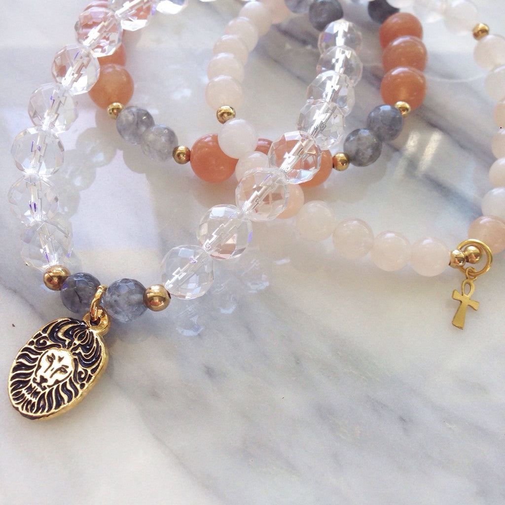 Gemstone Bracelet Stack, Lion Ankh Charms, Clear Quartz, Sunstone, Mika Malas
