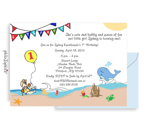 1st Birthday Invitation - Beach Babe