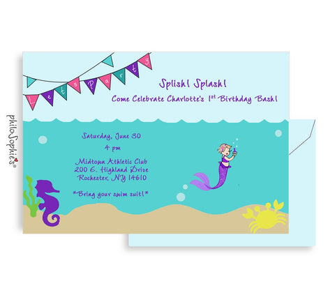 1st Birthday Invitation - Little Mermaid