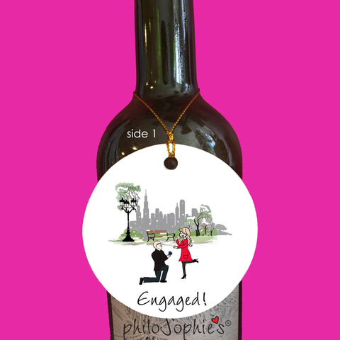 Chicago Winter Engagement Wine Tag/Ornament