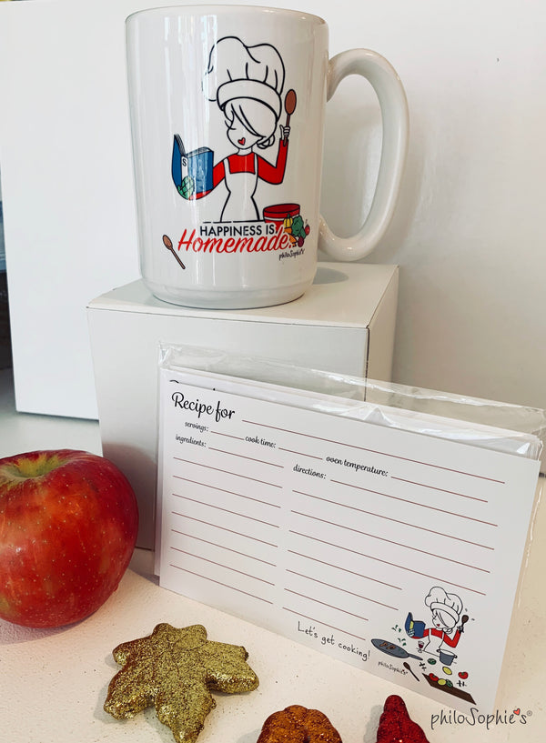 Happiness is Homemade Mug & Recipe Cards Gift Set