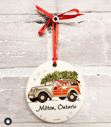 Special Delivery - Woodie Station Wagon with Santa Personalized  2020 Ornament