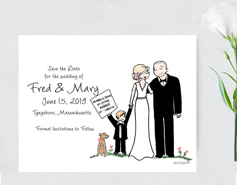 Wedding Save the Date with Couple/Family philoSophie's Illustration - philoSophie's®