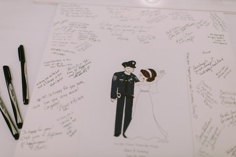 Wedding Guest Book Alternative with Couple Illustration - philoSophie's®
