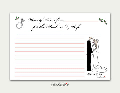Wedding Themed Personalized Advice Cards - philoSophie's®