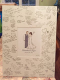 Alternative Guest Book - Illustration with Matboard- Wedding Couple