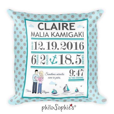 Nautical Baby Announcement Pillow - philoSophie's®