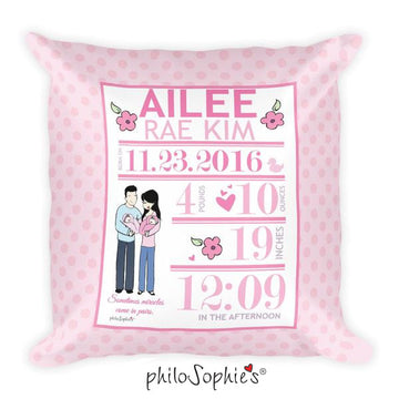 Flowers & Polka Dots Baby Announcement Pillow