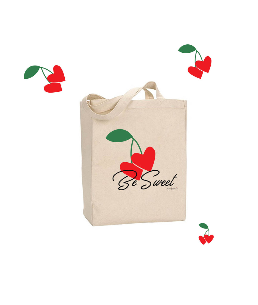 Be Sweet - Cherry philoSophie's Market Canvas Tote Bag - philoSophie's®