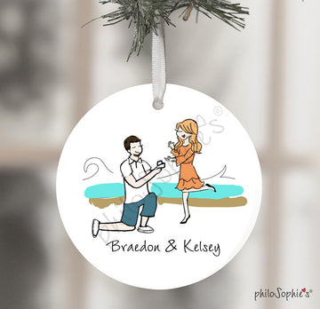 Personalized Beach Engagement Wine Bottle Tag / Ornament