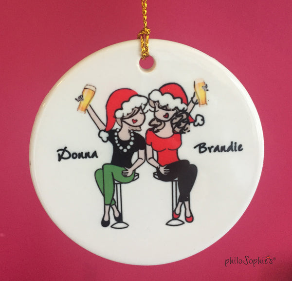 Cheers to Friendship Ornament with Beer personalized philosophie's