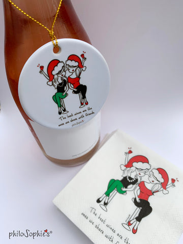 The best wines are the ones we share with friends - Ornament & Napkin Set