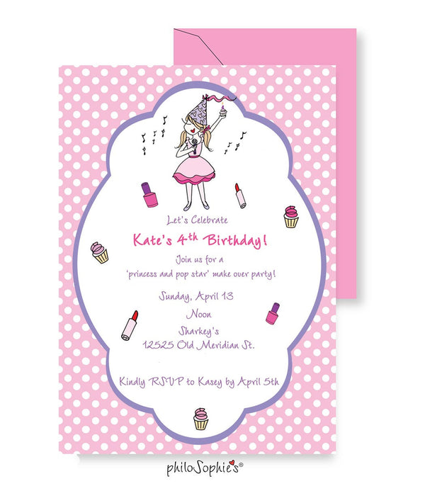 Birthday Invitation - Popstar Princess - philoSophie's®