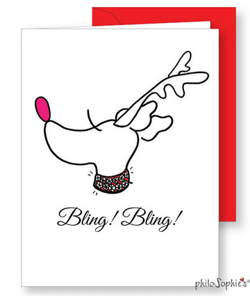 Bling Bling  Reindeer Holiday  Card