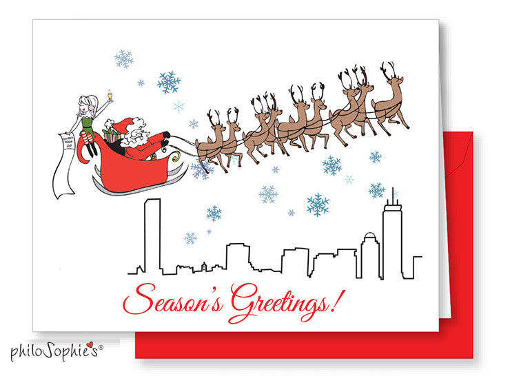 Season's Greetings Boston Greeting Card