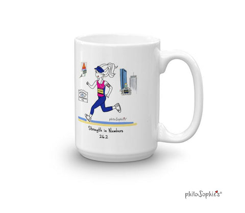 Boston Landmarks Marathon Mug - Strength in Numbers - non personalized