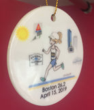 Rainy Boston Ornament  personalized Runner/Marathon