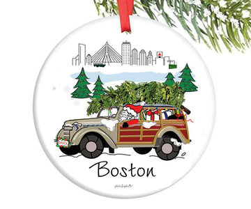Santa in the City - Boston Ornament