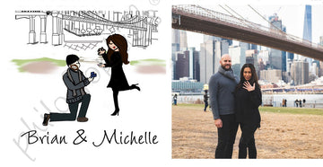 Personalized Brooklyn Bridge NYC Engagement Wine Bottle Tag / Ornament