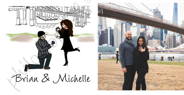 Personalized Brooklyn Bridge NYC Engagement Wine Bottle Tag/Ornament
