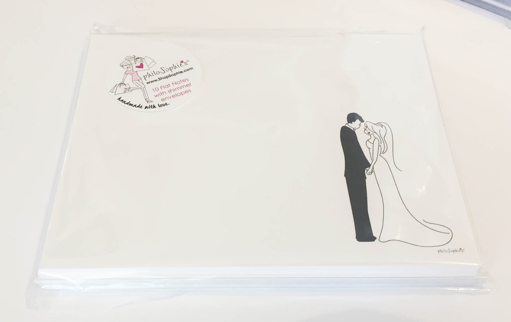 10 Wedding Couple Flat Notes with Envelopes - philoSophie's®